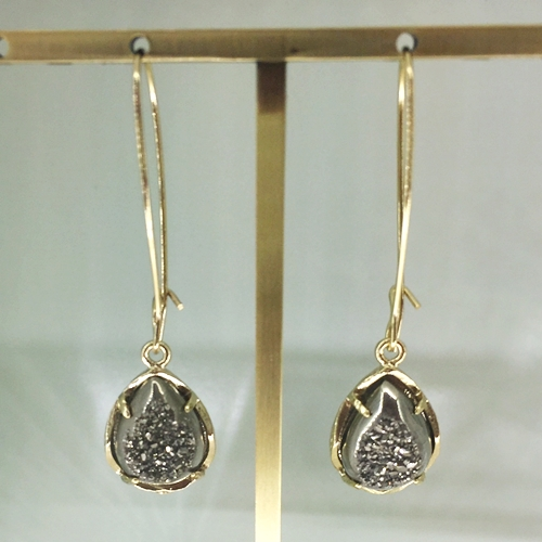 Dee Earrings In Slate Druzy 45
