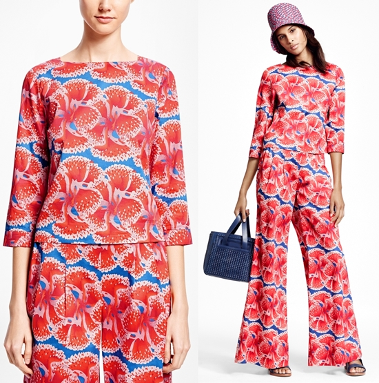 bdcaee2170e79 brooks brothers hibiscus. Brooks Brothers Cropped Floral-Print Cotton  Sateen Top ...