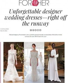 "Aleteia For Her's ""Unforgettable Designer Wedding Dresses"""
