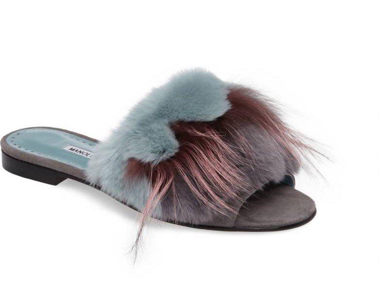6244480a1944 Manolo Blahnik Pelosusrafo Genuine Rabbit   Fox Fur Slide Sandal