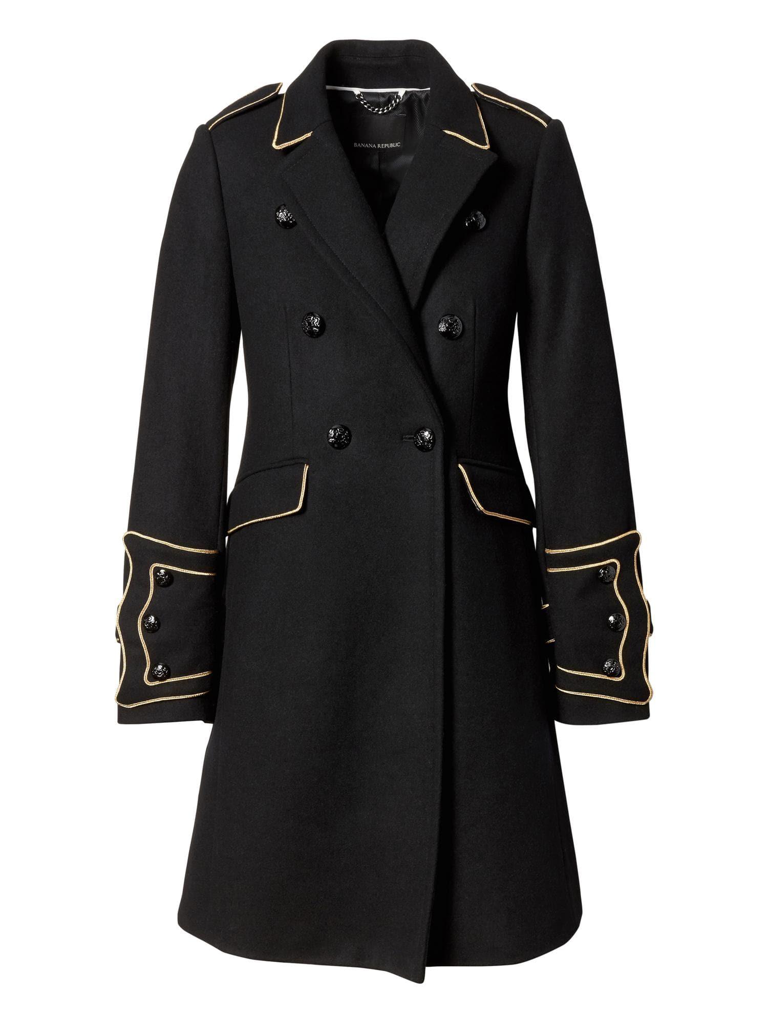 Banana republic black wool wrap coat