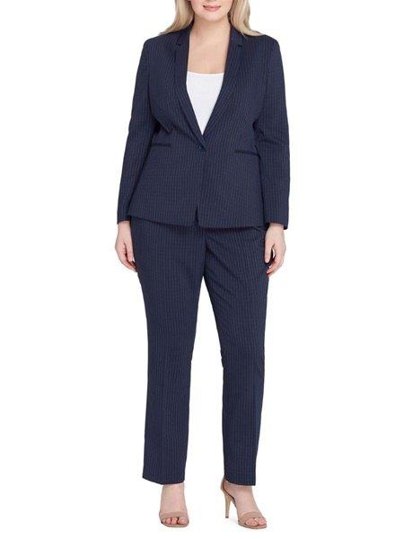 plus size tahari stripe suit